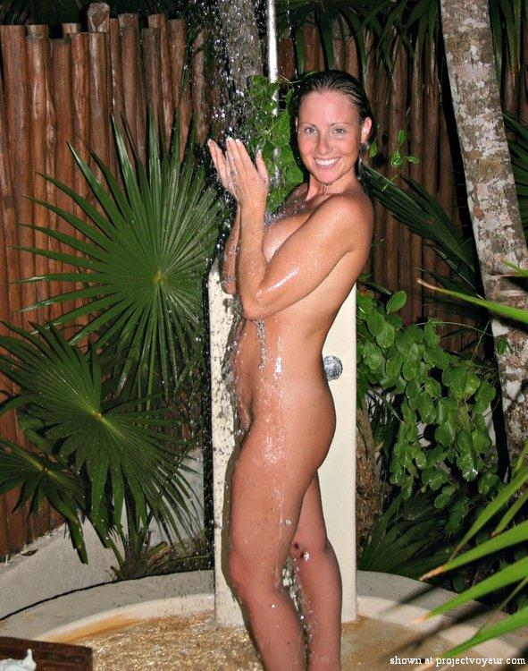 Naked in outdoor shower