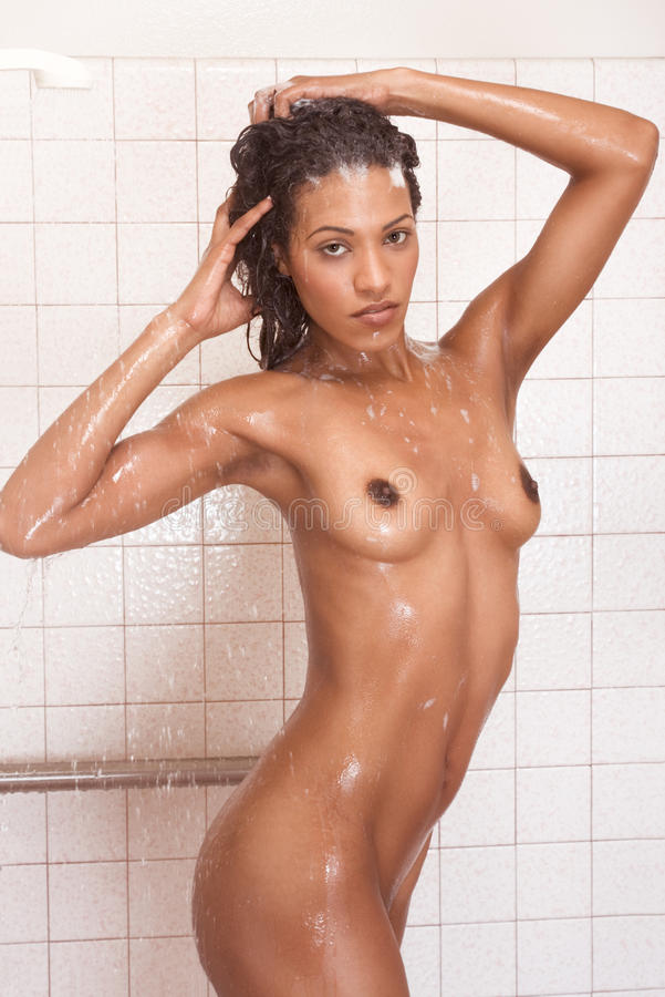 Nude black shower pic