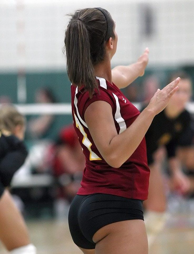 Sexy girl in volleyball shorts gets fucked